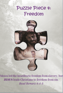 Bible Puzzle Piece 4 Jesus leads Christians to freedom from sin