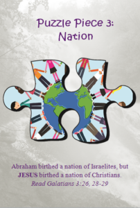 Bible Puzzle Piece 3 Jesus birthed a nation of Christians